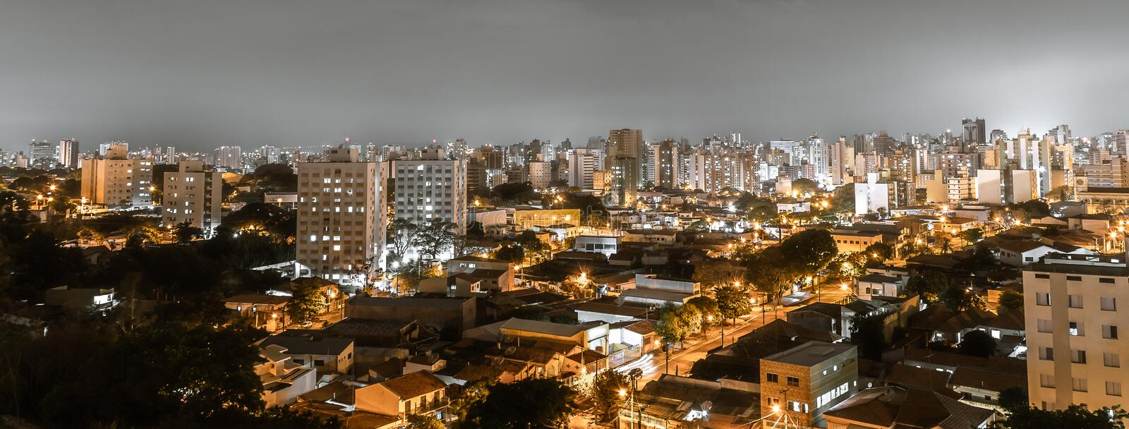 Top view of the city of Campinas, SP/ Brazil. Panoramic view of the city of Campinas, SP/ Brazil at night stock image