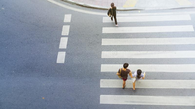 Top view of city people are walking across crosswalk royalty free stock photos