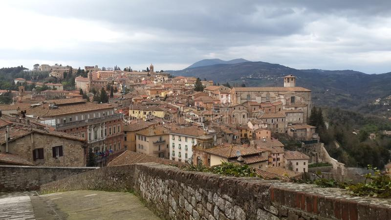 Top view of the city of Perugia royalty free stock photo