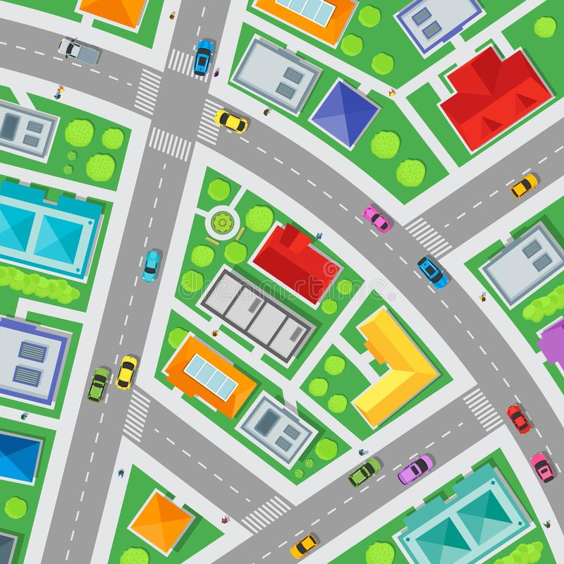 Top View City Streets Map Background Card. Vector. Top View City Streets Map Card Background Card Element Web Design Ready for Your Business Transport on Urban stock illustration