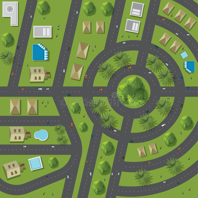 Top view of the city of streets, roads, houses, treetop vector illustration