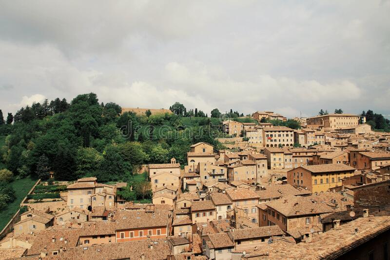 Top view of the city of Urbino, world heritage site, center of Italy. Top view of the city of Urbino, world heritage site, center stock image