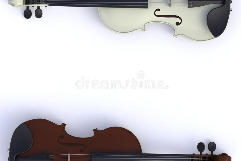 Top view of classical brown white violin isolated on white background, String instrument,. 3d rendering vector illustration
