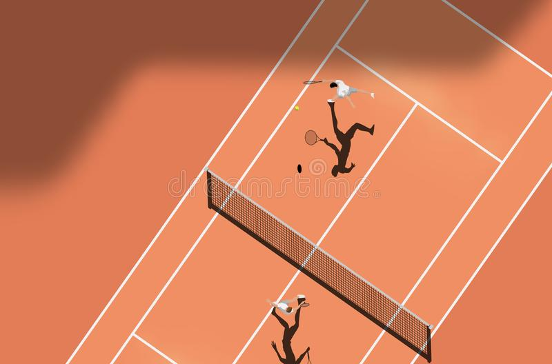 Top View Of Clay Court Tennis Match. Vector illustration stock illustration