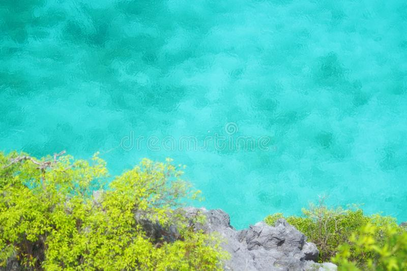 Top view of clear blue-green sea at the Horse Shoe Island. Of Myanmar stock image