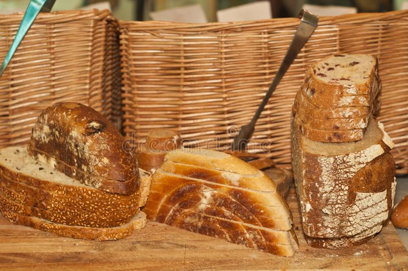 Freshly baked, variety of old world, bread from artisan bakery royalty free stock photography