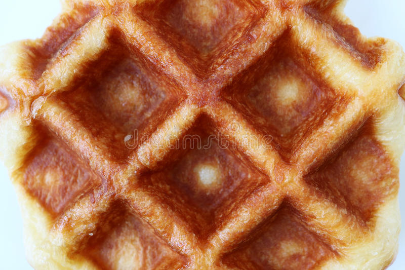 Top View of Closed up Fresh Baked Belgian Waffle, for Background royalty free stock photo