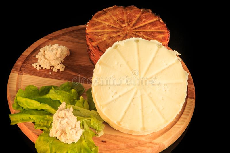 top view closeup two whole heads of homemade cheese royalty free stock image