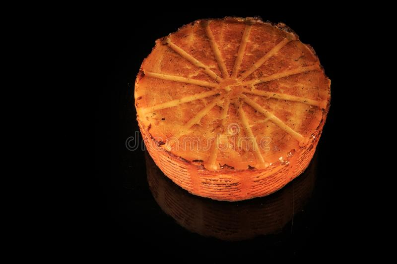 top view closeup whole round head of baked cheese royalty free stock images