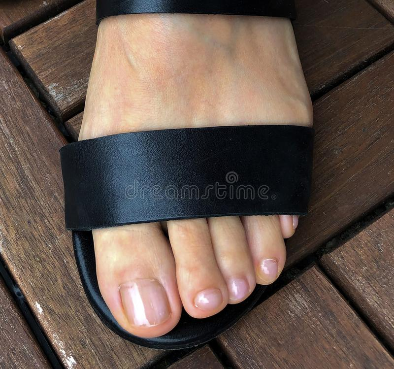 Top view closeup of woman toes ans feet in a black fashion sandals. Closeup of woman feet in a black fashion sandals standing on a patio deck royalty free stock photo