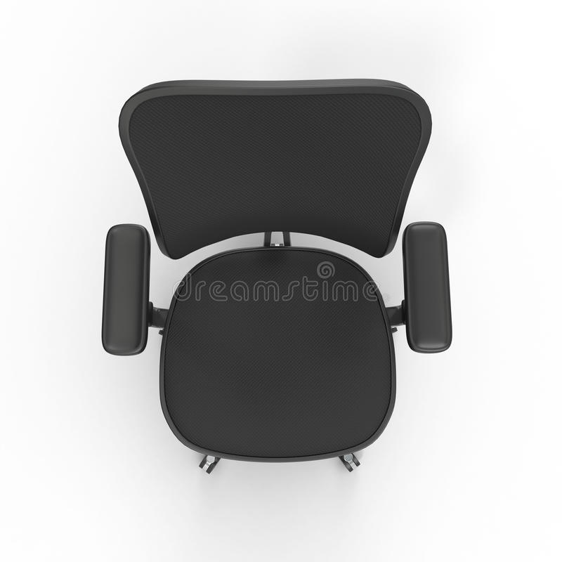 Top View Cloth Covered Office Chair Isolated On White