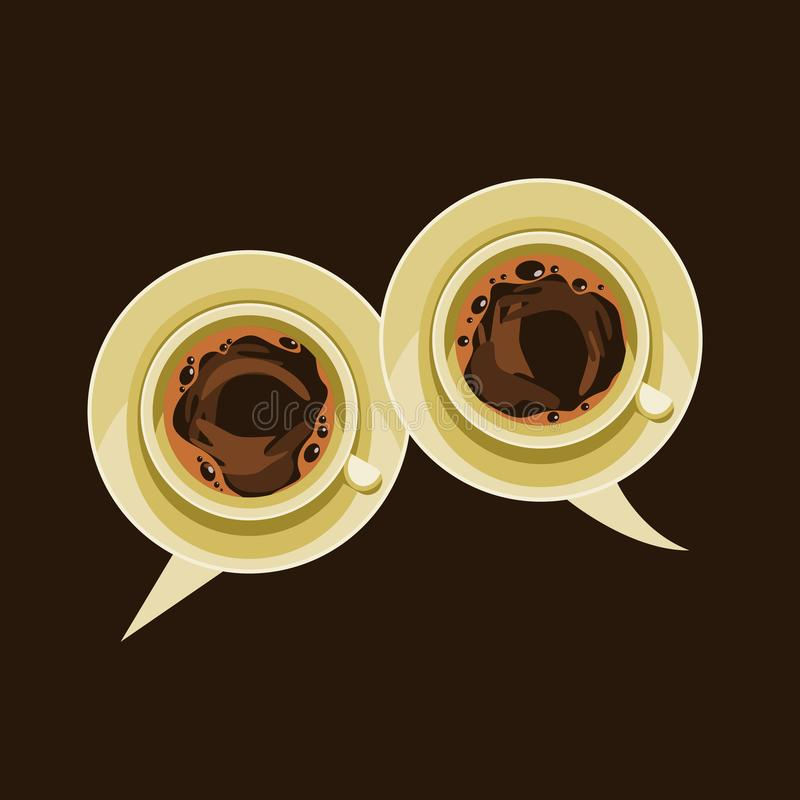 Top View Coffee as Chat Bubbles royalty free illustration