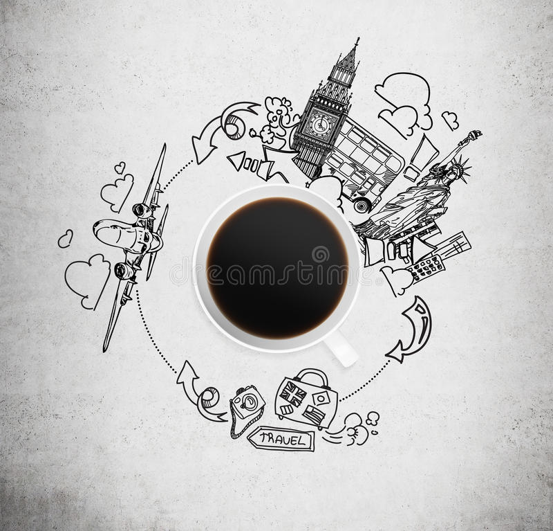 Top view of a coffee cup and drawn sketches of London and New York on the concrete background. The concept of travelling stock photos