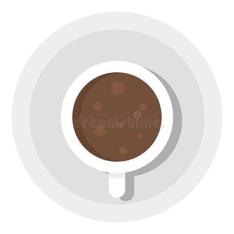 Top view coffee cup icon, flat style stock illustration