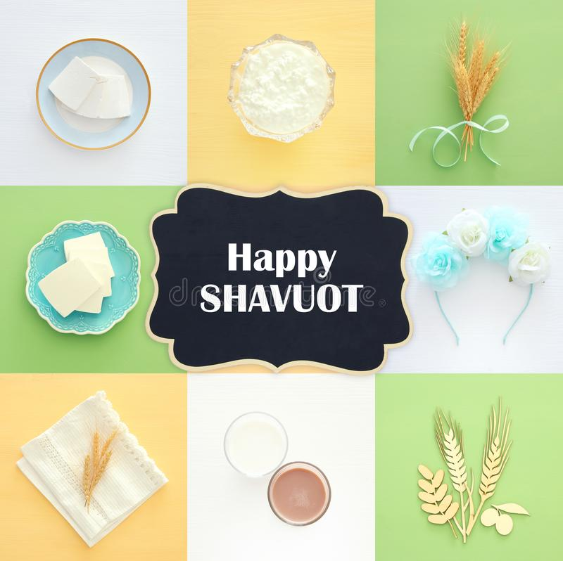 Top View Collage Image Of Dairy Products Symbols Of Jewish Holiday