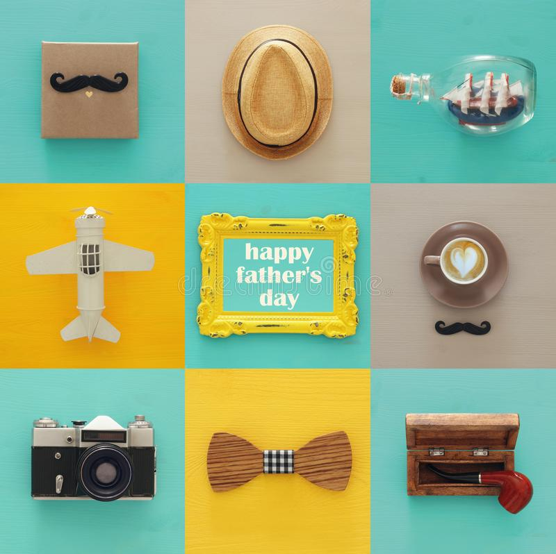 top view collage with man life style objects. Father& x27;s day concept. royalty free stock photos