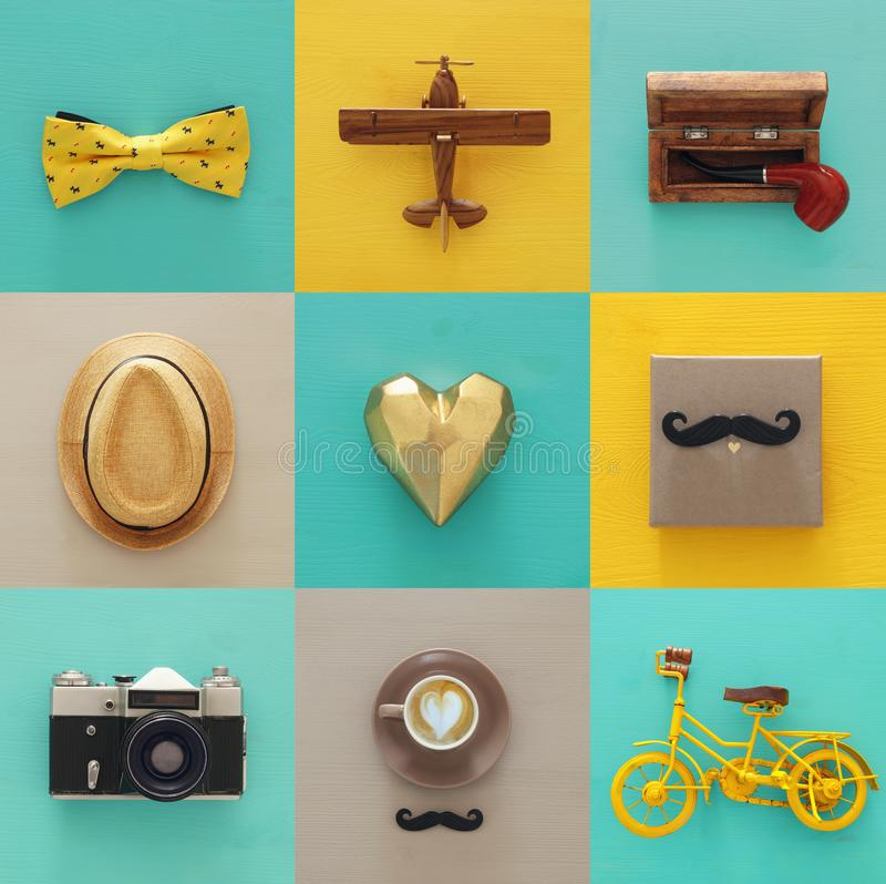 top view collage with man life style objects. Father& x27;s day concept. royalty free stock image