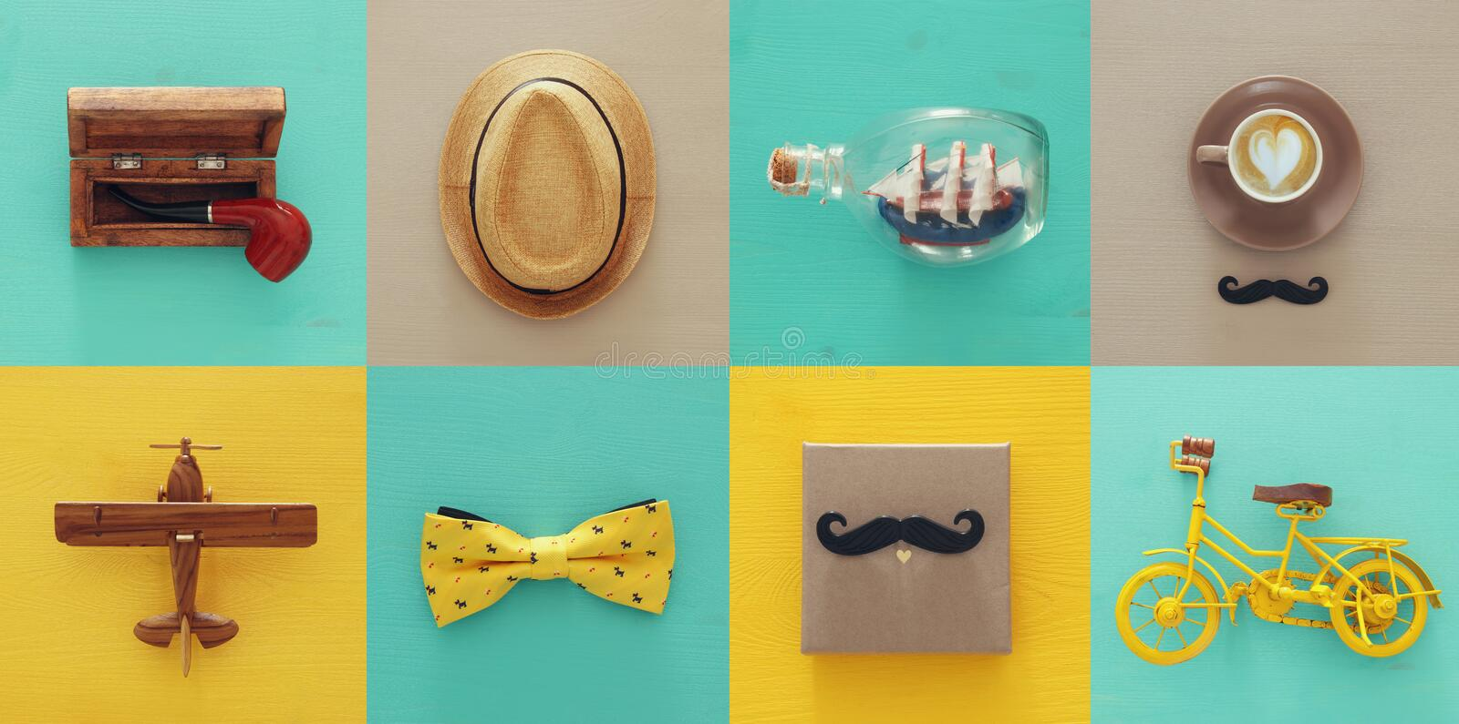 top view collage with man life style objects. Father& x27;s day concept. royalty free stock images