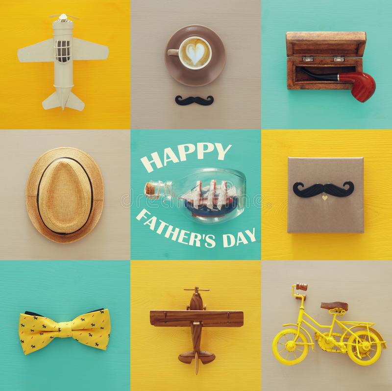 top view collage with man life style objects. Father& x27;s day concept. royalty free stock photography