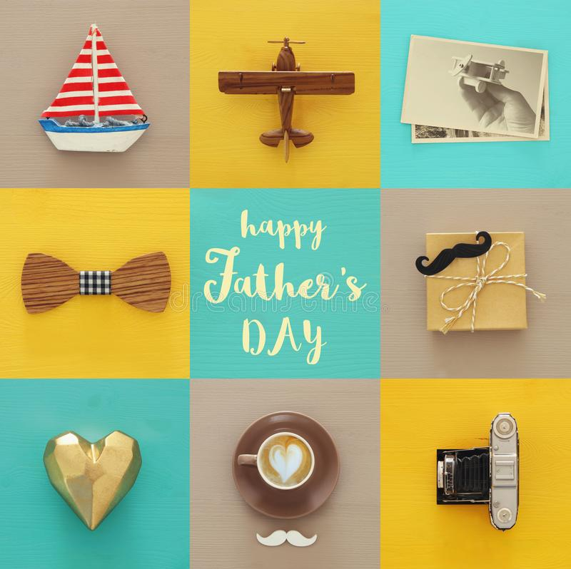 Top view collage with man life style objects. Father`s day concept. stock photo