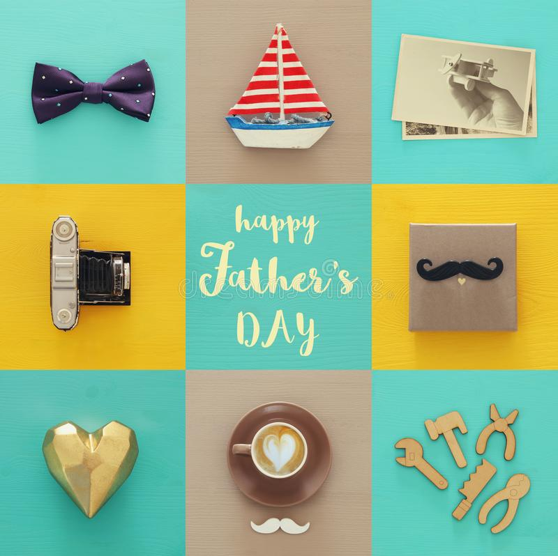 Top view collage with man life style objects. Father`s day concept. royalty free stock photos