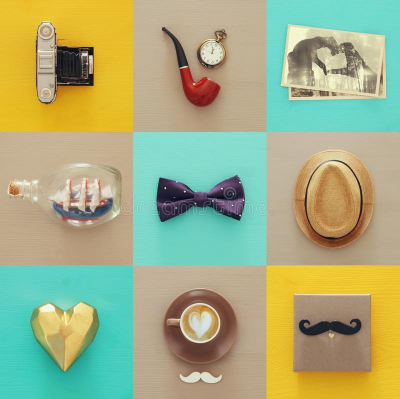 Top view collage with man life style objects. Father`s day concept. stock images