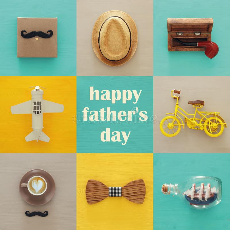 top view collage with man life style objects. Father& x27;s day concept. stock image