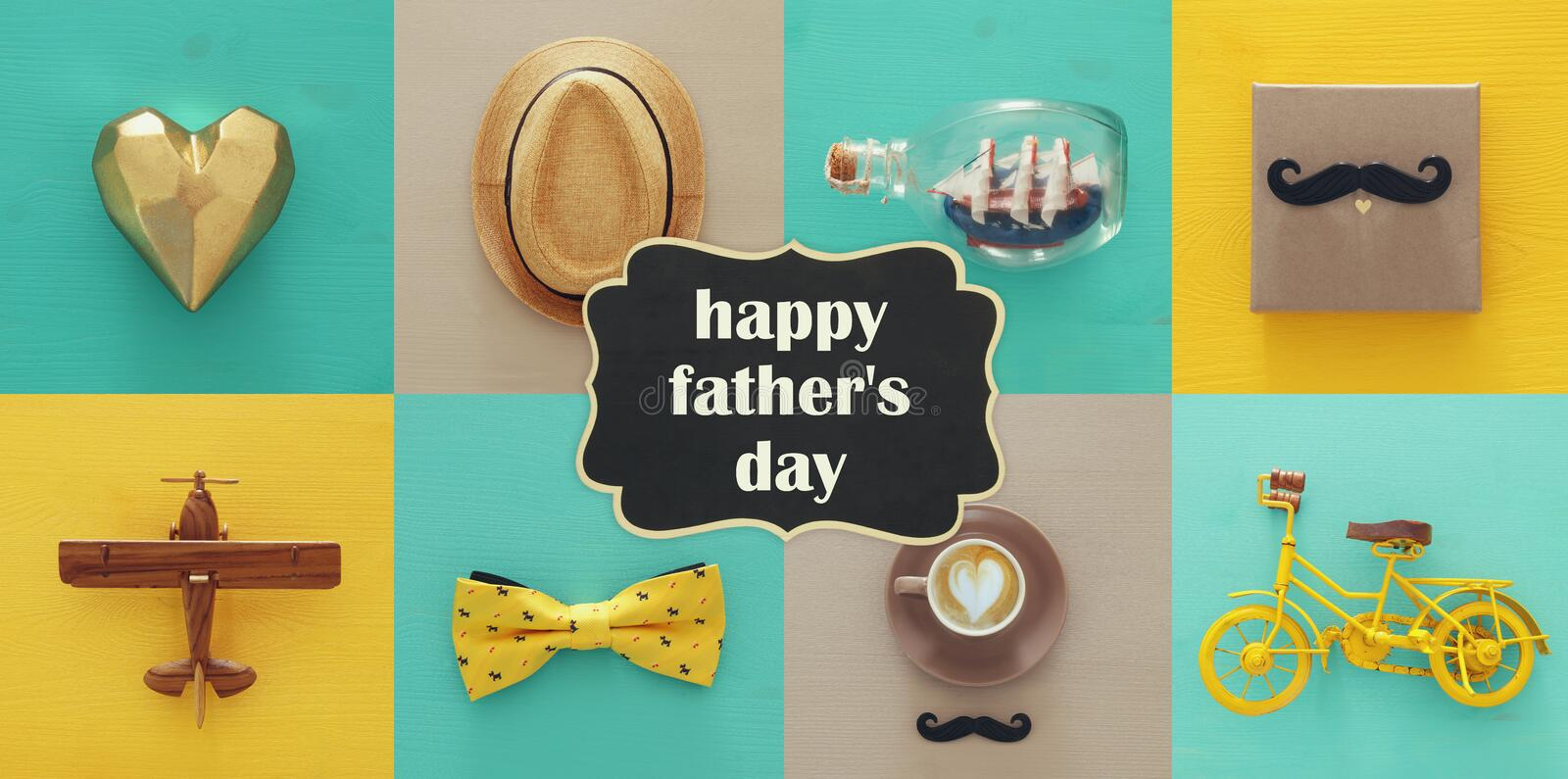 top view collage with man life style objects. Father& x27;s day concept. royalty free stock photo