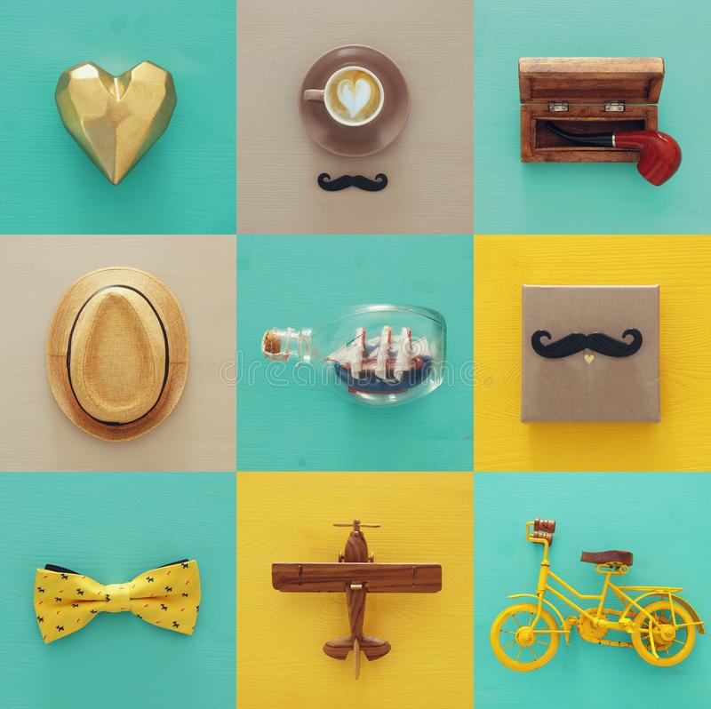 top view collage with man life style objects. Father& x27;s day concept. stock photography