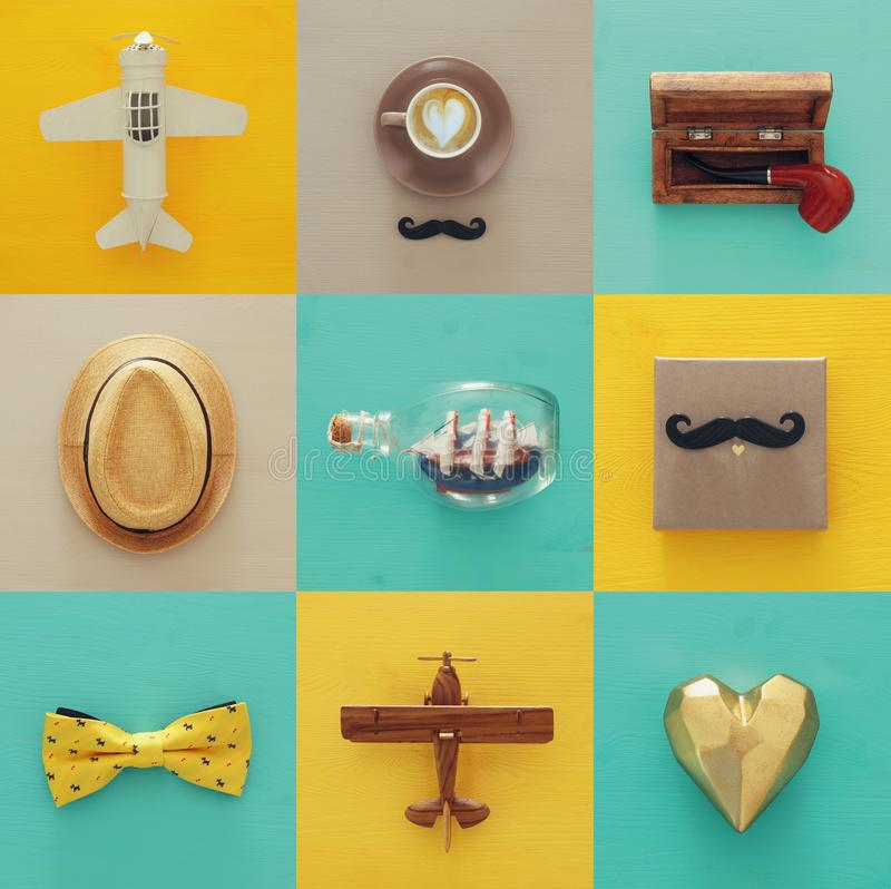 top view collage with man life style objects. Father& x27;s day concept. stock photos