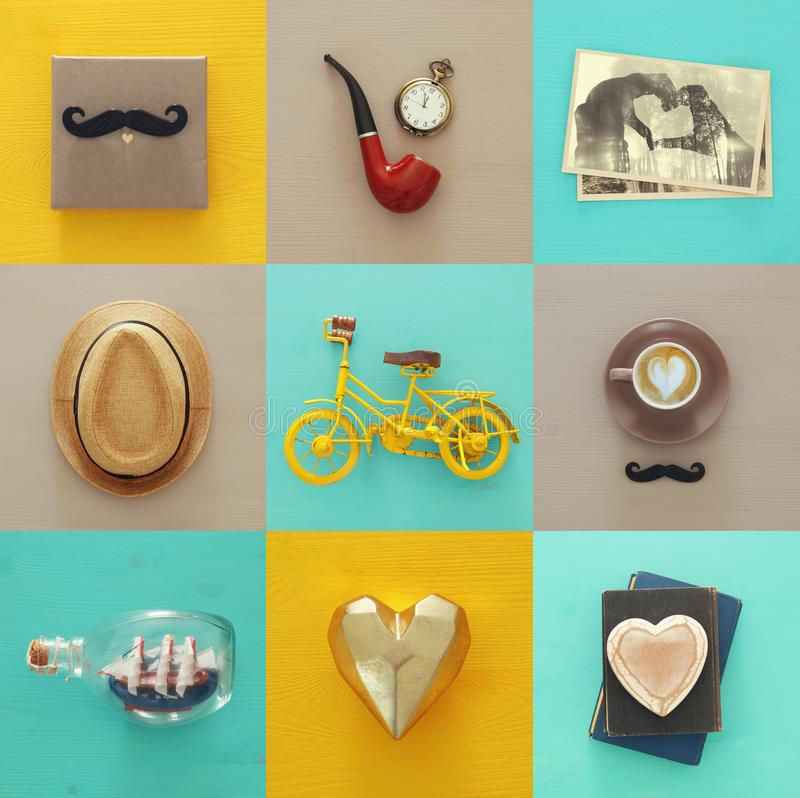 Top view collage with man life style objects. Father`s day concept. stock photography