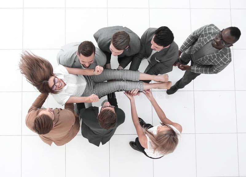 Top view.colleagues throws the project Manager stock photography