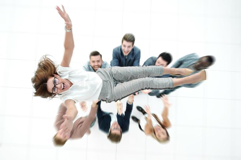 Top view.colleagues throws the project Manager royalty free stock images