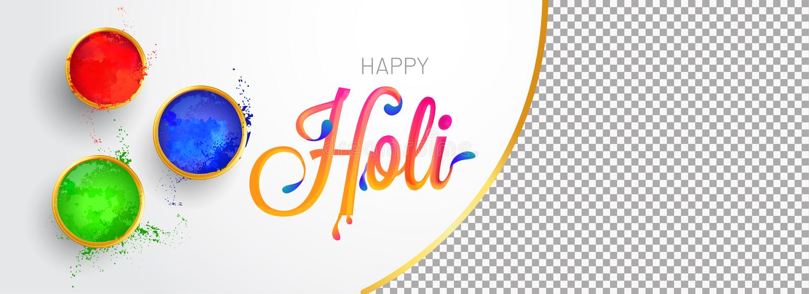 Top view of color bowls with stylish lettering of holi and space for your image. Indian festival of colors celebration banner. Design stock illustration