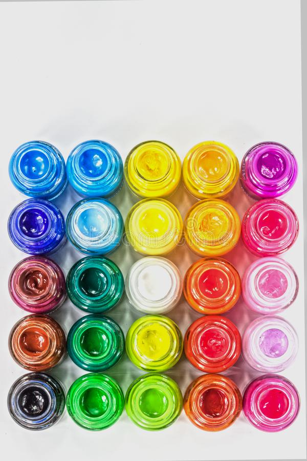 top view of Poster colors in square on white background stock photos