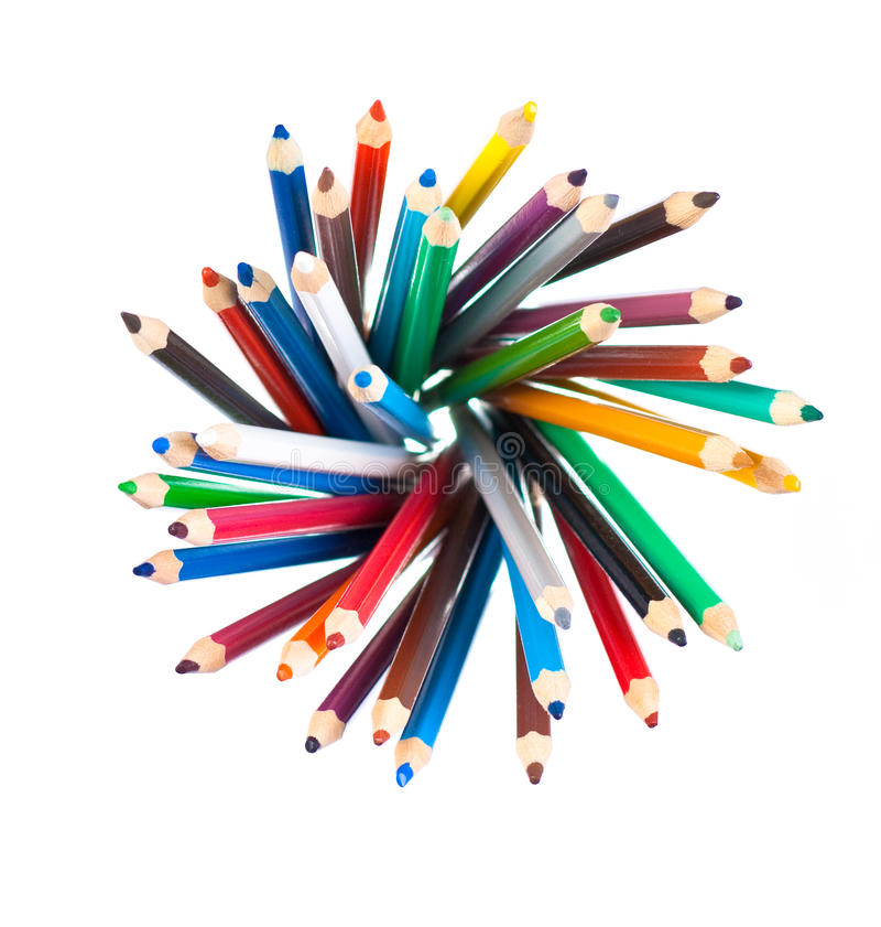 Top view of color pencils pile isolated royalty free stock photography