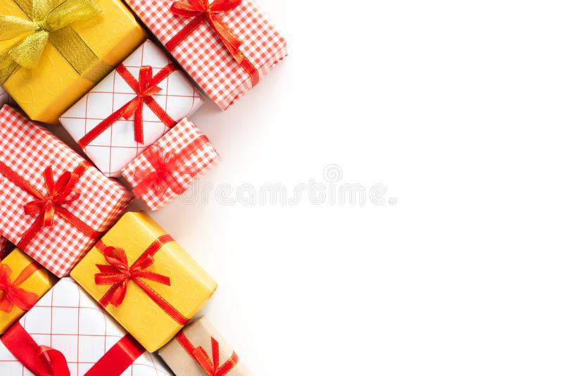 Top view of Colored gift boxes with ribbons stock image