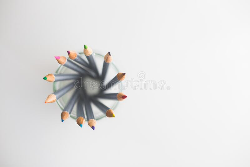 Top view of colored pencils royalty free stock photography