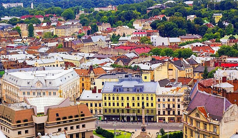 Top view on colorful houses of Lvov in Ukraine, cityscape royalty free stock photography