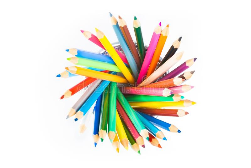 Top of view of colorful pencils in container isolated on white background stock photo