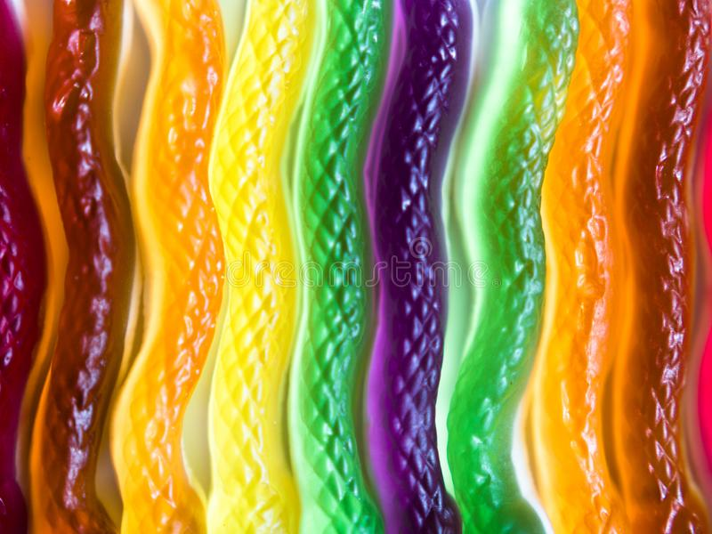 Top view of colorful snake shaped jelly candies royalty free stock image