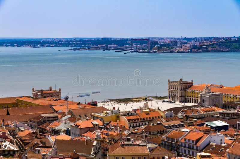 Top view of Commerce square in downtown Lisbon, Portugal royalty free stock photography