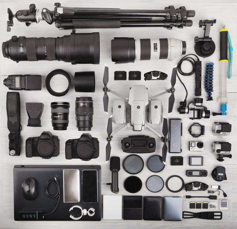 Top view of complete photographer professional equipment stock photography