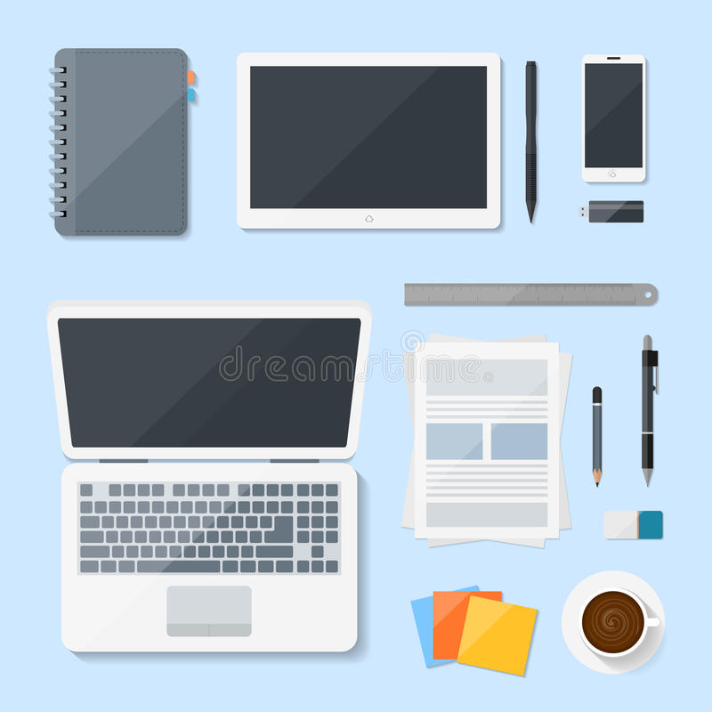 Top view Computer Laptop vector design on desk, Workplace with mobile devices royalty free illustration