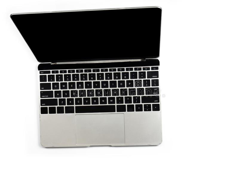 Top view of computer laptop on white isolated background with clipping path. stock image