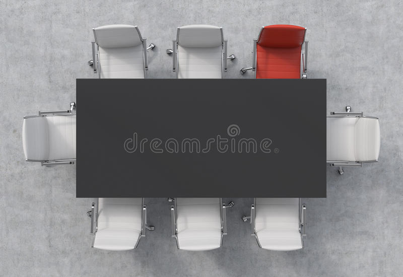 Top View of a conference room. A black rectangular table and eight chairs around, one of them is red. Office interior. 3D royalty free stock images