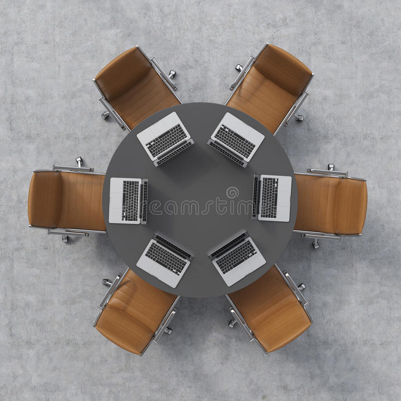Top view of a conference room. A black round table, six brown leather chairs and six laptops. Office interior. stock illustration