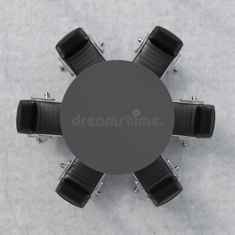 Download Top View Of A Conference Room Black Round Table And Six Chairs Around