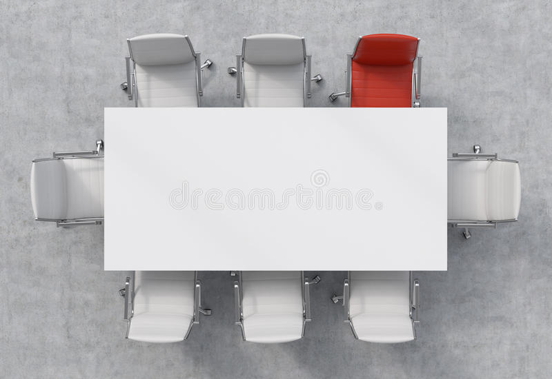 Top View Of A Conference Room. A White Rectangular Table