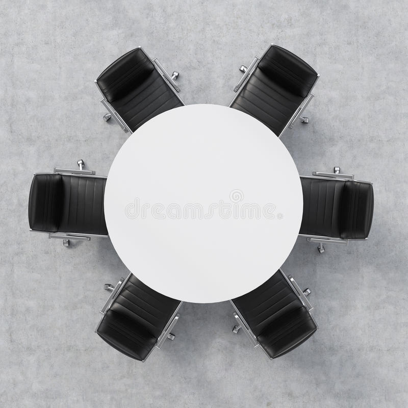 Top view of a conference room. A white round table and six chairs around. Office interior. 3D rendering. royalty free stock photo